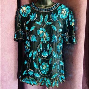 Sténay 100% Silk Heavy Beaded Shirt - Size 6